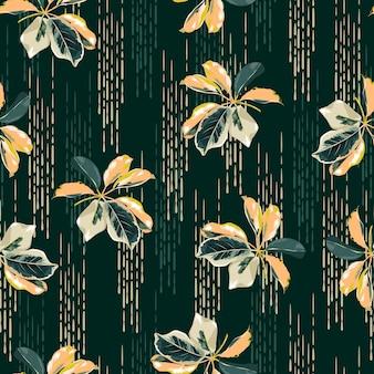 Modello senza cuciture piante variegate botaniche, foglie con sfondo di linea disegnata a mano design per moda, tessuto, tessuto, carta da parati, copertina, web, confezionamento e tutte le stampe su verde scuro