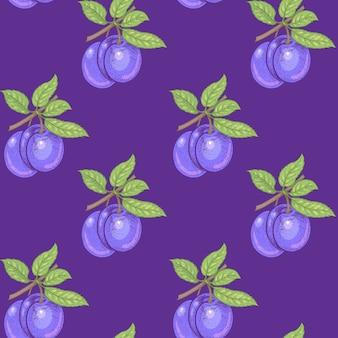 Modello senza soluzione di continuità. rami con foglie e prugne su uno sfondo viola. illustrazione per imballaggi, carta, carta da parati, tessuti, tessuti.