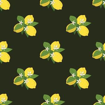Modello senza cuciture di rami con limoni Vettore Premium