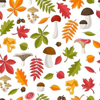 Modello senza cuciture di foglie autunnali colorate luminose: quercia, acero, castagno, sorbo, betulla, tiglio e funghi selvatici commestibili. isolare su uno sfondo bianco