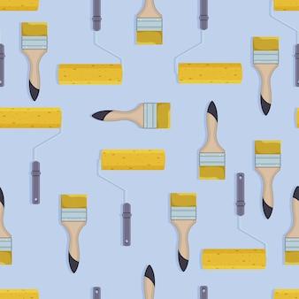 Seamless pattern di pennello o rullo pittura a parete Vettore Premium