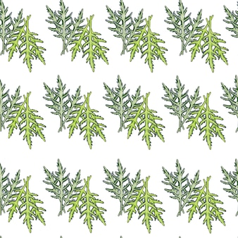 Insalata di rucola mazzo modello senza soluzione di continuità su sfondo bianco. ornamento semplice con lattuga. modello di pianta geometrica per tessuto. illustrazione di vettore di progettazione.