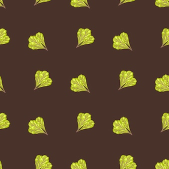 Insalata di mangold mazzo modello senza soluzione di continuità su sfondo marrone. ornamento minimalista con lattuga. geometrico