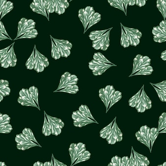Insalata di mangold mazzo modello senza soluzione di continuità su sfondo verde acqua scuro. ornamento astratto con lattuga. modello di pianta casuale per tessuto. illustrazione di vettore di progettazione.