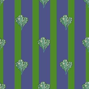 Insalata di mangold mazzo modello senza soluzione di continuità su sfondo viola strisce. ornamento astratto con lattuga. modello di pianta geometrica per tessuto. illustrazione di vettore di progettazione.