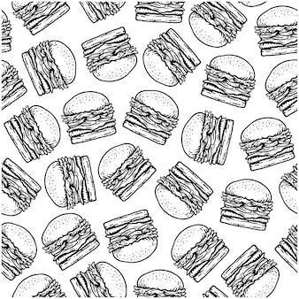 Modello senza cuciture di hamburger in design vintage doodle