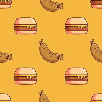 Modello senza cuciture di hamburger e salsiccia con stile doodle