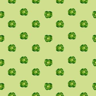 Modello senza cuciture insalata di farfalle su sfondo pastello. ornamento minimalista con lattuga. modello di pianta geometrica per tessuto. illustrazione di vettore di progettazione.
