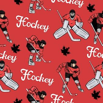 Modello senza cuciture di giocatori di hockey canadesi e foglie di acero.