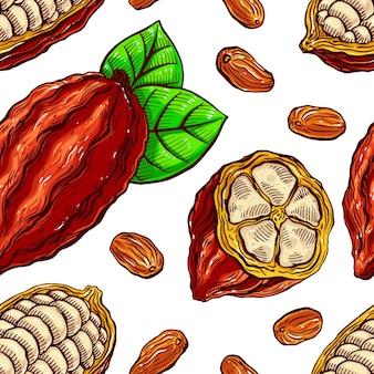 Modello senza giunture di fave di cacao, frutta e foglie. illustrazione disegnata a mano