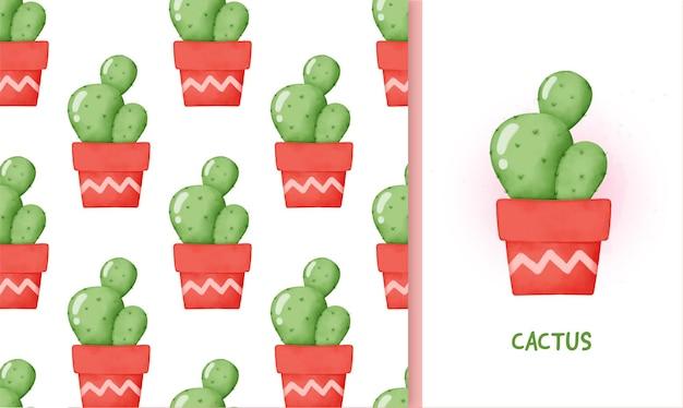 Cactus e cartolina d'auguri senza cuciture.