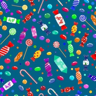 Modello senza cuciture di caramelle, lecca-lecca e dolci