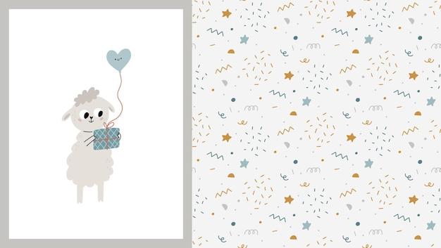 Modello senza cuciture e carta con simpatiche pecorelle con scatola regalo e palloncino illustrazione per bambini