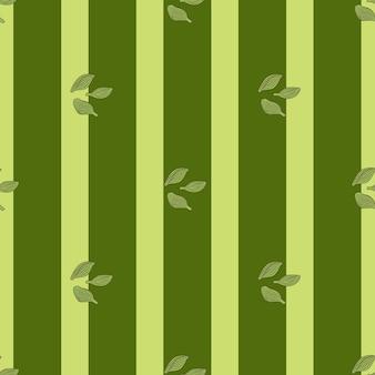Cardamomo senza cuciture su sfondo verde a strisce. ornamento di schizzo di pianta carina. modello di trama geometrica per tessuto. illustrazione di vettore di progettazione.