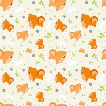 Pomeranian senza cuciture della razza del cane del fumetto del modello con le zampe, le foglie e le ossa.