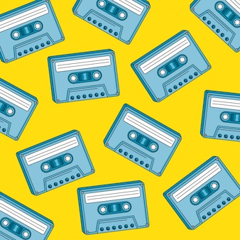 Modello senza cuciture delle cassette di progettazione dell'illustrazione di vettore di retro stile di anni novanta