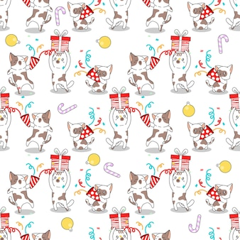 Gatti senza cuciture nel cartone animato della festa di natale