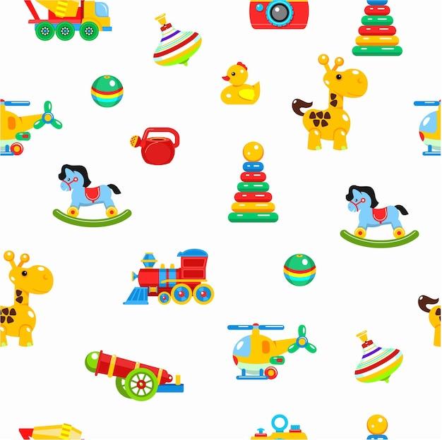 Giocattoli per bambini senza cuciture. illustrazione colorata.