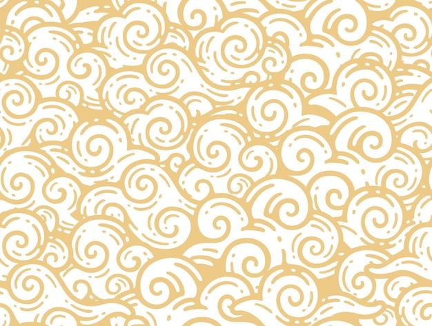 Seamless pattern di nuvole cina in doodle stile vintage.