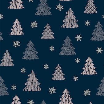 Modello senza cuciture decorazione natalizia sfondo blu scuro fiocchi di neve decorazioni festive capodanno