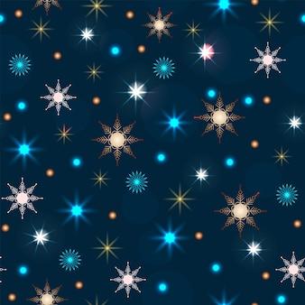 Modello senza cuciture decorazione natalizia ghirlanda al neon decorazione festiva anno nuovo sfondo blu scuro