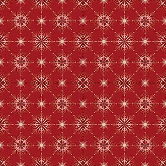 Modello senza cuciture decorazione di natale sfondo rosso fiocchi di neve stelle decorazioni festive capodanno