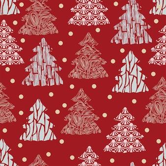 Modello senza cuciture decorazione natalizia sfondo rosso fiocchi di neve albero decorazioni festive capodanno