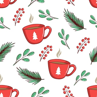 Seamless pattern floreale di natale e una tazza di caffè