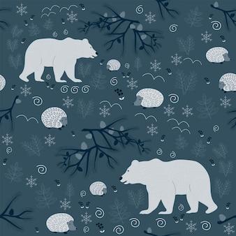 Modello senza cuciture natale foresta sfondo blu scuro albero orso fiocchi di neve capodanno