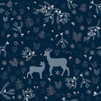 Modello senza cuciture natale foresta sfondo blu scuro albero cervi fiocchi di neve capodanno
