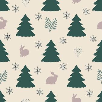 Modello senza cuciture natale foresta sfondo bianco albero lepre fiocchi di neve capodanno