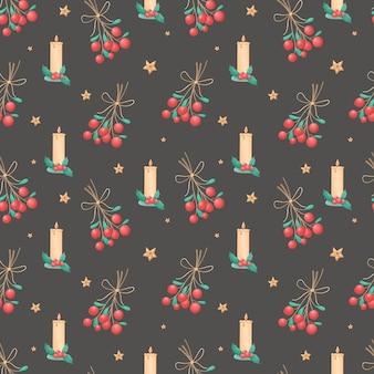 Modello senza cuciture delle icone isolate di natale su sfondo nero. simboli di vacanza invernale. illustrazione per carta da imballaggio, decorazioni, tessile.