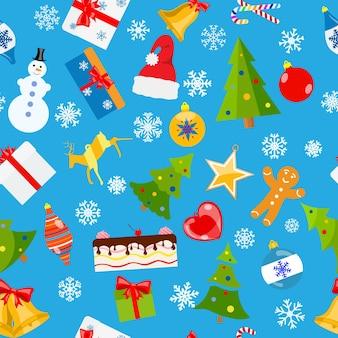 Modello senza cuciture di simboli natalizi in stile piatto su sfondo azzurro