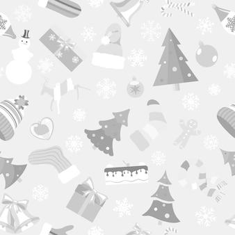 Modello senza cuciture di simboli natalizi e vestiti invernali caldi in stile piatto in colori grigi su sfondo bianco