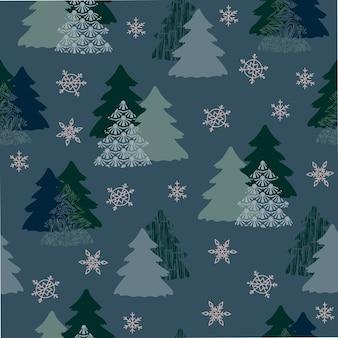 Modello senza cuciture decorazione albero di natale sfondo blu fiocchi di neve decorazioni festive capodanno