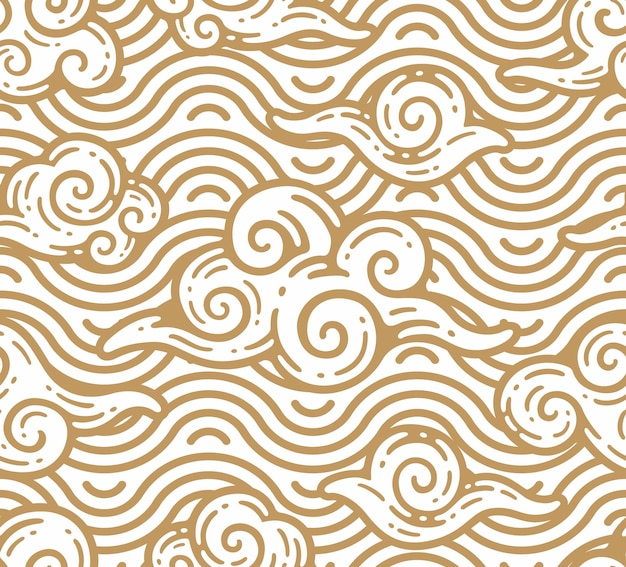Modello senza cuciture di nuvole con ornamento di mare in stile contorno doodle
