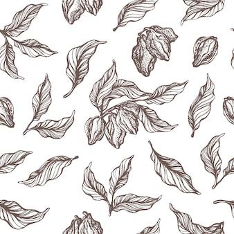 Modello senza cuciture del ramo di un albero di cacao con foglia, fagiolo insieme del disegno di doodle illustrazione di schizzo