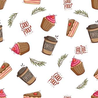 Modello senza cuciture di tazza di carta da caffè e cupcake con stile doodle