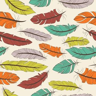 Modello senza cuciture di piume di uccelli colorati in una disposizione casuale e formato quadrato adatto per carta da parati tessile o illustrazione vettoriale piastrelle
