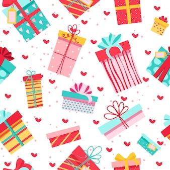 Seamless pattern. regali colorati, tante simpatiche scatole con fiocchi.