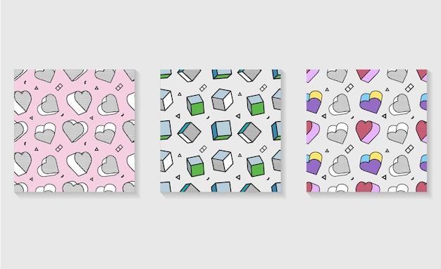Modello senza cuciture, modello colorato con elementi grafici 3d.