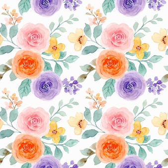 Modello senza cuciture del fiore di rose colorate con acquerello
