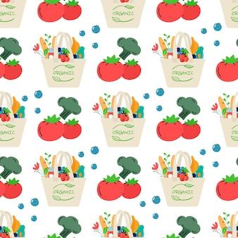 Modello senza cuciture di rete per lo shopping eco in cotone con verdure, frutta e bevande salutari. latticini in borsa shopper ecocompatibile riutilizzabile. zero sprechi. design piatto alla moda