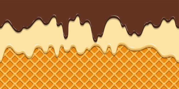 Modello senza soluzione di continuità. glassa e cioccolato correnti su fondo di struttura della cialda.