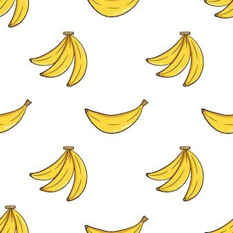 Modello senza cuciture di banana carina con stile doodle