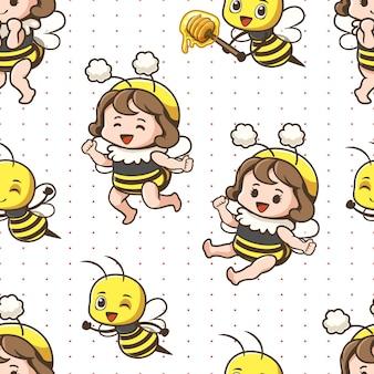 Ragazza carina ape senza cuciture