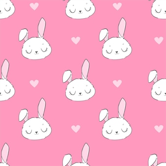 Coniglietto sveglio senza cuciture e fiori rosa su sfondo rosa