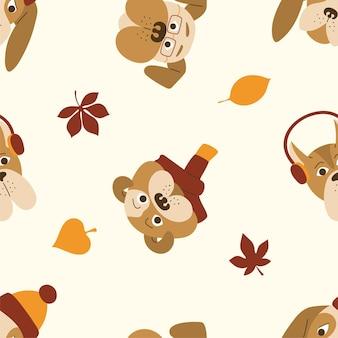 Modello senza cuciture di cani simpatico cartone animato con foglie d'autunno su sfondo giallo.