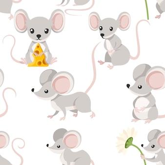 Modello senza cuciture di simpatico topo cartone animato divertente cartone animato design piatto illustrazione