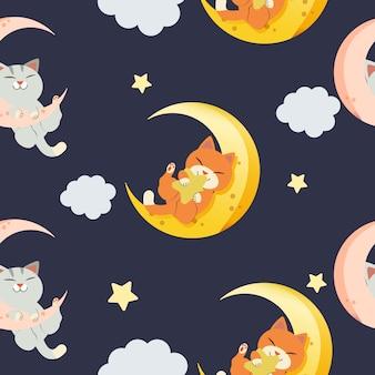 Il modello senza cuciture del simpatico gatto che gioca sulla luna in stile piatto vettoriale